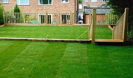 After - Steep garden levelled and turfed